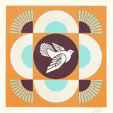 Shepard Fairey - Geometric Dove (Orange) - Obey