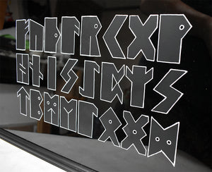 Will Wright - Futhark - Hand Stencilled on Glass