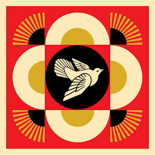 Shepard Fairey - Geometric Dove (Red) - Obey