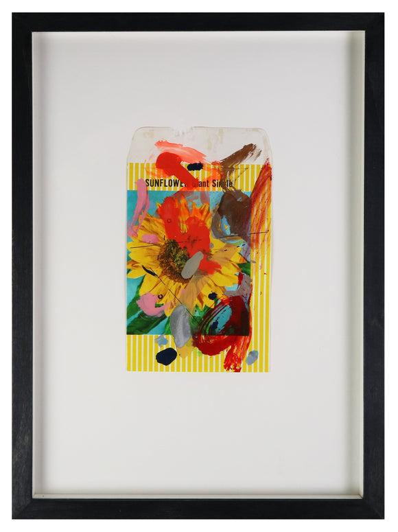 Adam Bridgland - Bloom II - Flower Packet Collage - Sunflower (Framed)