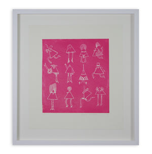 Basia Lautman - Triangle Girls (in Pink) (Framed)