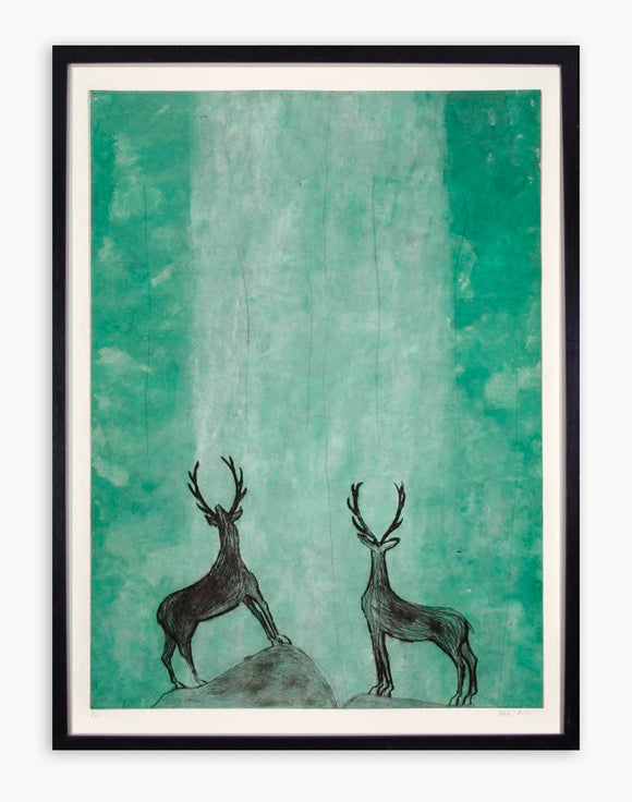 Kate Boxer - OOOOH (Stags admiring a Waterfall) (Framed)