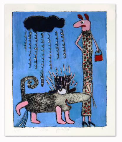 Basia Lautman - Lady and her Dog (Blue)