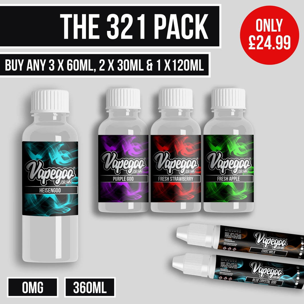 The 321 Pack - (0mg) E Liquid-VapeGoo.co.uk
