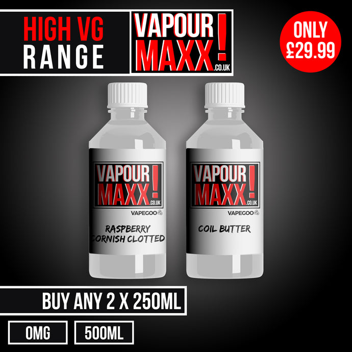 High VG eliquid 2 x 250ml (0mg) - Vapourmaxx | Vapegoo