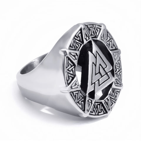 Valknut Scandinavn Odin Stainless Steel Ring - Free Shipping