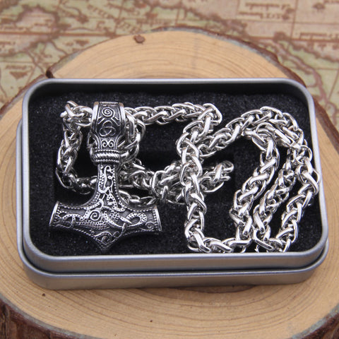 Stainless steel thor's hammer mjolnir pendant necklace