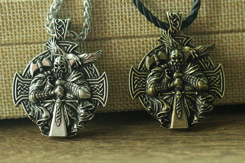 Viking Odin with Raven necklace pendant