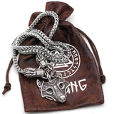 Viking Wolf Head With Thor's Hammer Mjolnir Scandinavian Bear Paw NECKLACE