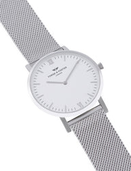 Forge and Foster - White Silver Mesh Watch - Angle View