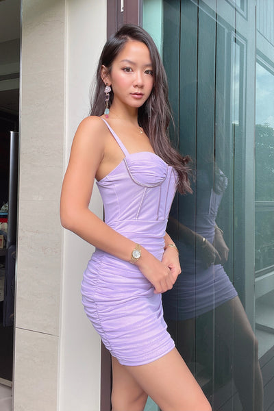 Arabella Sweetheart Runched Dress in Lilac
