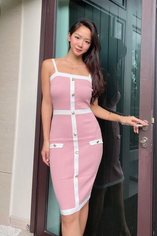 Luna Knit Bodycon Dress - Pink