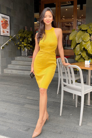 Yellow Knit Bodycon Dress