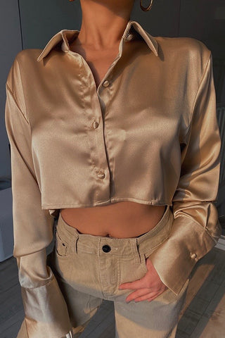 Anytime Blouse Crop Top - Golden