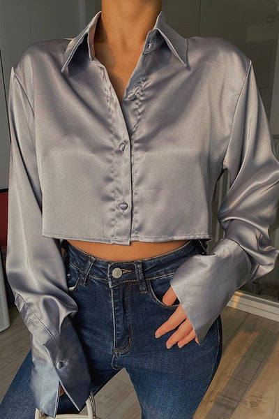 Anytime Blouse Crop Top - Sky