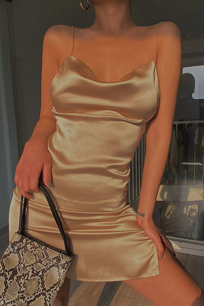 Anytime Cowl Neck Slip Dress - Golden