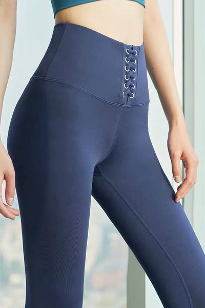 High Waist Lace Up Sports Legging - Navy