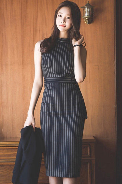 Nana Stripe Midi Dress *size L left