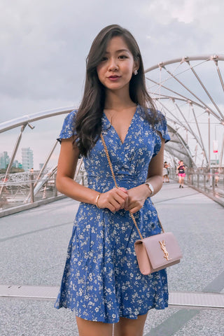 Bleu Floral Tie & Wrap Dress