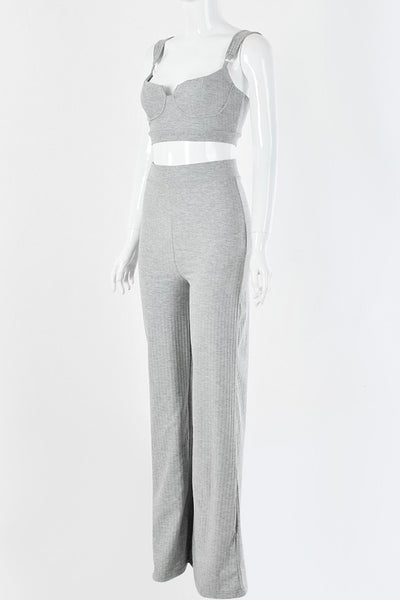 Livia Crop Top Bell Pants Set - Grey