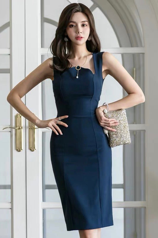 Daphne Navy Midi Dress