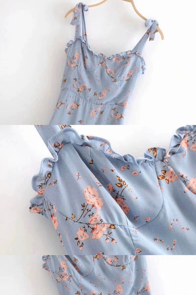 Linda Floral Blue Maxi Dress