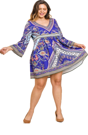 Royal Blue Paisley Dress