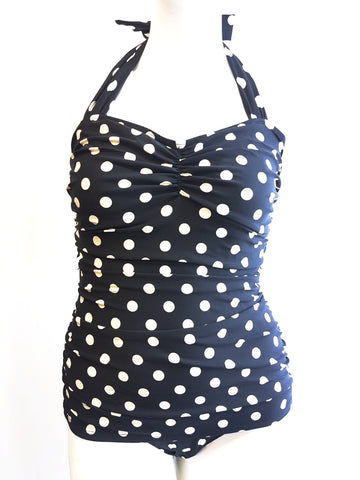 Classic Sheath Bathing Suit in Black & White Polka Dots