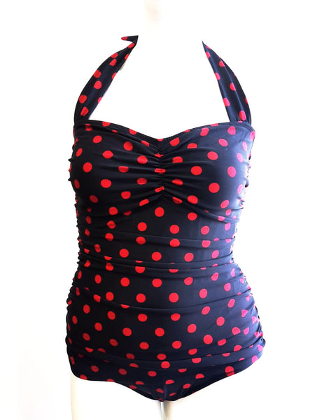 Classic Sheath Bathing Suit in Black & Red Polka Dots