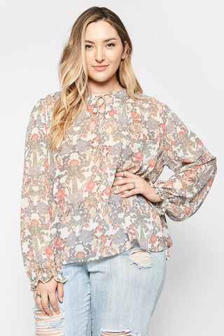 Floral Print Blouse in Cream