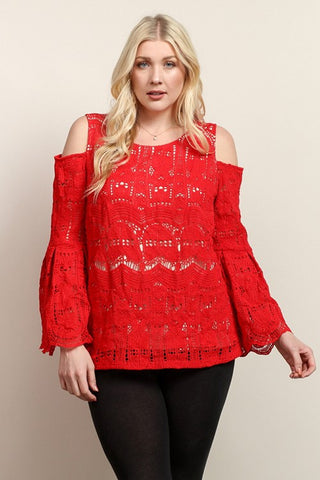 Red Lace Open Shoulder Top