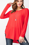 Long Sleeve Scoop Basic Tee in Red