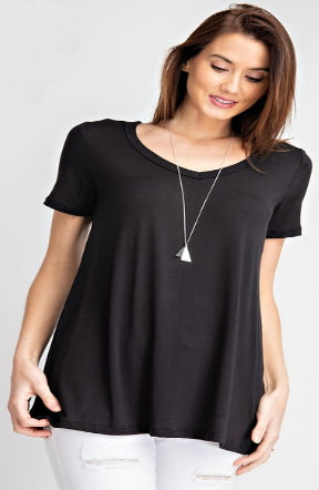 Even Hem V Neck Tee in Black & Blue