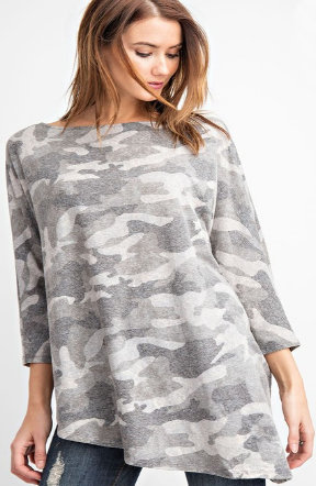 Soft Grey Camo Top