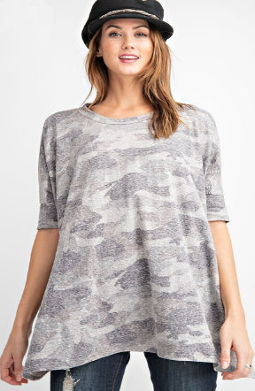Camo Half Sleeve Tee in Grey