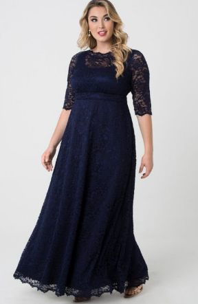 Leona Lace Gown in Navy