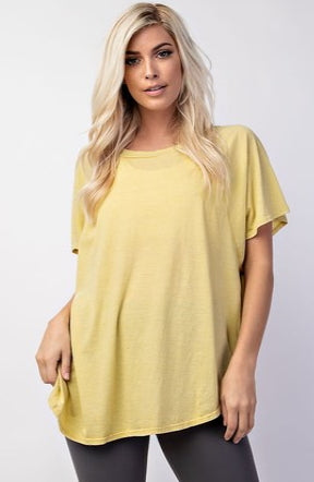 Mineral Wash Wide Neck Tee in Lemon