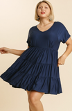 Tiered Baby Doll Dress in Navy