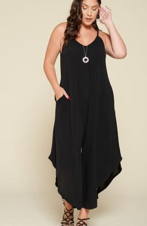 Solid Jersey Jumpsuit in Black