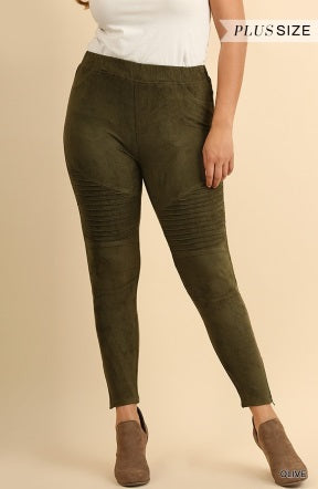Suede Moto Leggings in Olive