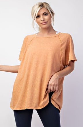 Mineral Wash Wide Neck Tee in Orange Cream