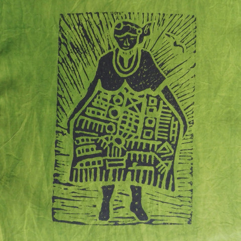 South African Panel - African Woman in Avocado Green