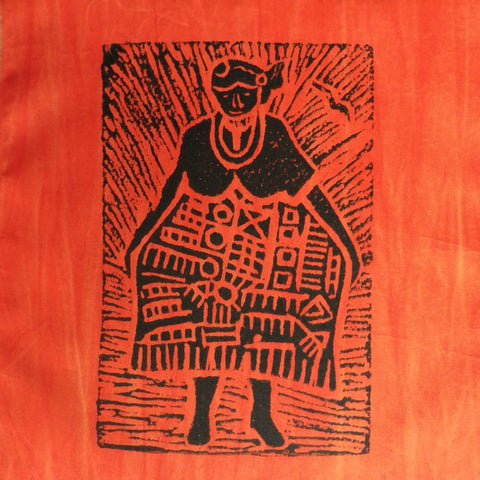 South African Panel - African Woman in Orange Red