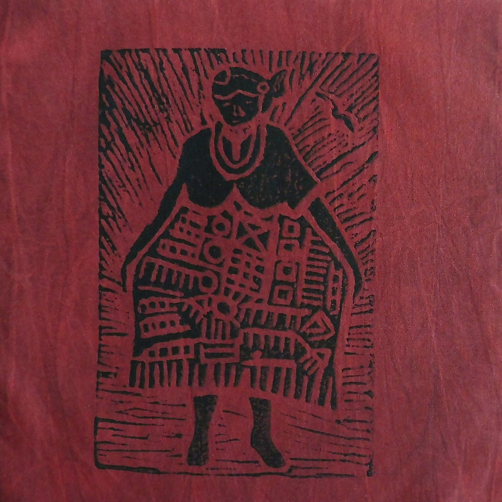 South African Panel - African Woman in Dark Red