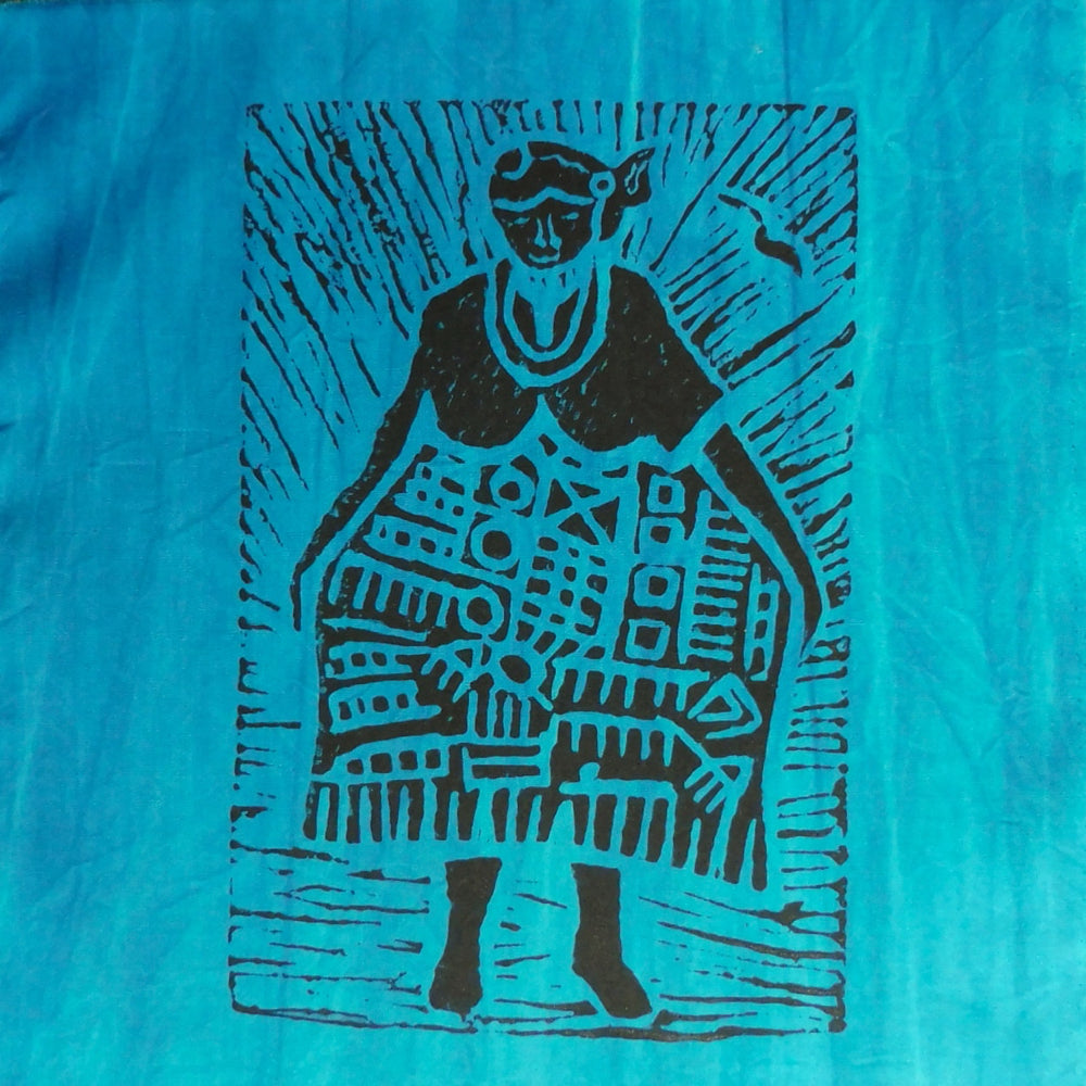 South African Panel - African Woman in Greenish Blue