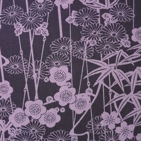 Japanese Quilting Print - Purple Bamboo