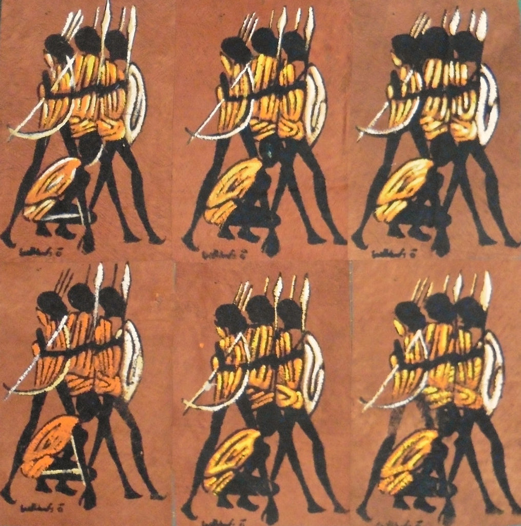 Ugandan Bark Cloth Painting - Four Hunters
