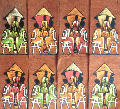 Ugandan Bark Cloth Painting - Social Gathering