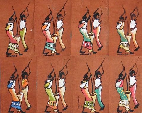 Ugandan Bark Cloth Painting - Villagers Pounding