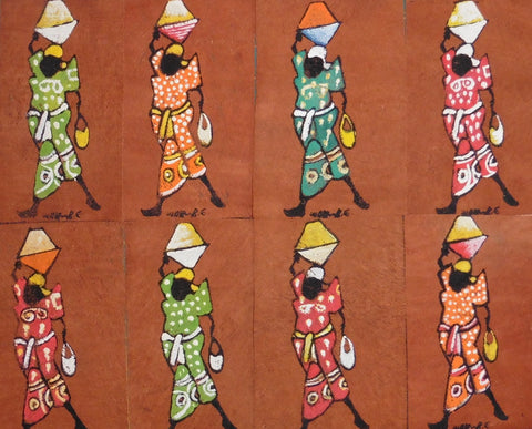 Ugandan Bark Cloth Painting - Woman Carrying Basket